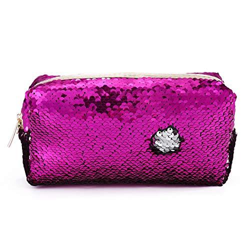 Student Damenmode Reißverschluss Pailletten Tasche, für kosmetische Münzen Schreibwaren Lagerung Rose red + Silber - Lagerung Silber-münze