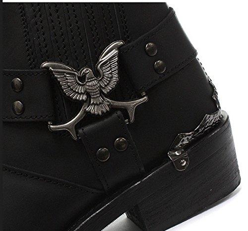 Grinders eagle emblema Biker Eleganti Stivali neri in caviglia e Metˆ di-Vitello Gamma nero Lo
