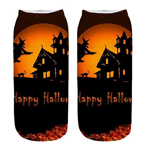 Skxinn Unisex Winter Sportsocken,Halloween Pumpkin Bedruckte Kurze Socken/Lässige Niedliche Söckchen für Frauen,Weihnachtsdruck 3D Socken(Z01-K)