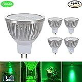 GreenSun LED Lighting 4er Pack MR16 GU5,3 LED Lampe, 3W Reflektorlampe 240LM, Ersetzt 35 Watt Glühlampen, 12V LED Leuchtmittel Birnen Spotstrahler, 120° Abstrahwinkel, Grün-Licht