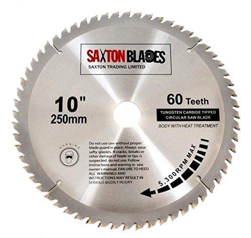 Saxton TCT Holzkreissägeblatt, 250mm x 30mm x 60T, für Bosch, Makita usw, passend für 255-mm-Sägen