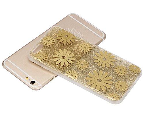 iPhone 6 Plus Coque,iPhone 6S Plus Case - Felfy Ultra Mince Scintiller Glitter Bling Shiny Paillette Coque Back Cover Silicone TPU Etui Housse Slim Cover Etui de Protection Cas en caoutchouc en Ultra  or Tyrant Marguerite