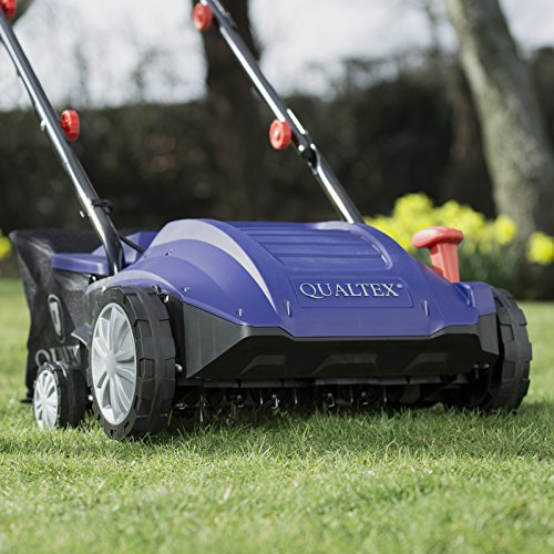Qualtex 2 in 1 Electric Lawn Aerator & Scarifier/Raker – 4 Working Depths 30L Collection Bag – 1500W