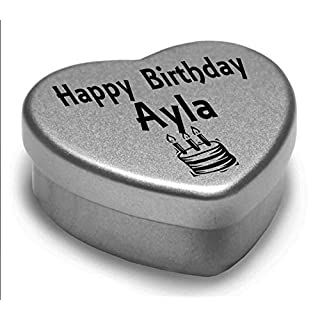 Happy Birthday Ayla Mini Heart Tin Gift Present For Ayla WIth Chocolates. Silver Heart Tin. Fits Beautifully in the Palm of Your Hand. Great Birthday Present To Show Somebody You are Thinking of Them.