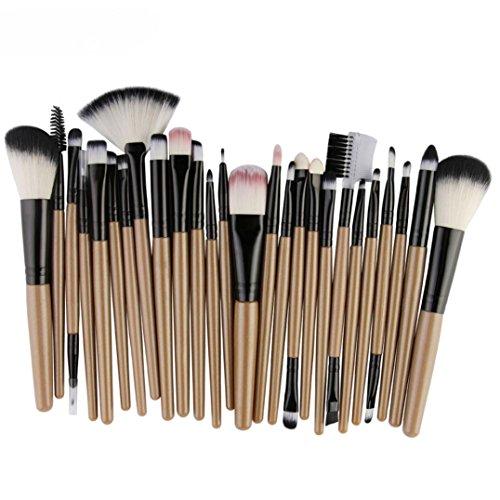 Make-up Pinsel,Binggong 25pcs Kosmetik Make-up Pinsel Rouge Lidschatten Pinsel Set Kit Pinselset Premium Pinselhaare Gesicht Pulver Pinsel (18x14x2cm, Gelb) (Make-up-pinsel Gelb)