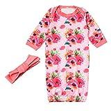 LEXUPE Neugeborene Baby Pyjamas Mädchen Floral Stirnband Flower Swaddle Outfits Sets(Grün,80)
