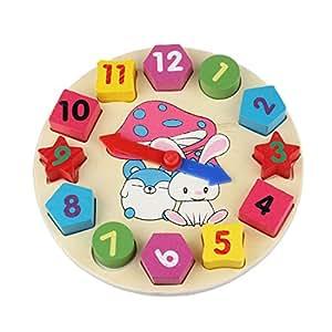 Culater®1PC Fraction forme Jolie Sorter 12 Nombre Mathématiques de Blocs en Bois Jouet Horloge