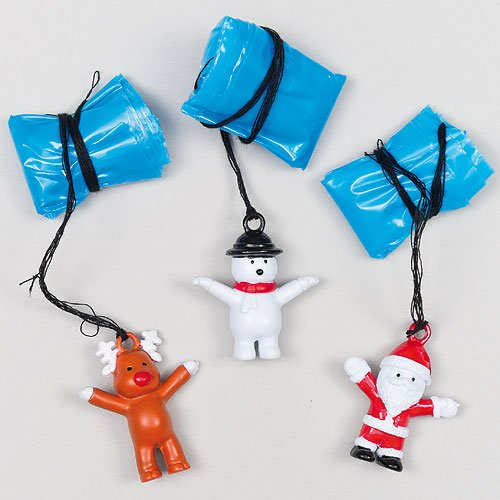 Christmas Character Parachutists Perfect Stocking Filler for Children (Pack of 4)