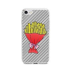 licaso Handyhülle kompatibel für Apple iPhone 7 I Schutzhülle aus TPU mit Pommes Frites Fritten Strauß Print I Transparente Hülle Handy Aufdruck I Weich Silikon Durchsichtig