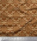 Soimoi Marrone Popeline di Cotone Tessuto Swirl & Ogee Damasco Tessuto Stampato da Metro 56 Pollici Larghi