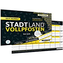 DENKRIESEN Stadt Land Vollpfosten - Do it Yourself-Edition - Stadt Land Fluss neu aufgelegt für Unterwegs (Din A4-Format), Spielblock