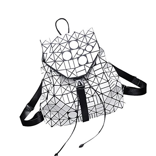 Frauen Art Und Weise Kühle Städtische Lasergeometrie Diamantgitter Einzelner Schulterbeutel Rucksack Für Damen Multicolor White