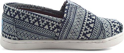 Toms Tiny Sneaker mit Klettverschluss, - Marineblau Tribal Geo - Größe: 21 EU