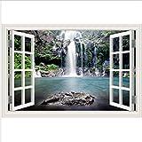 HHZDH Gebäude Landschaft Fenster Stickerwall Decals 3D Landschaft Natur Für Wohnzimmer Wasserfall Fenster Tapete Wohnkultur Wandkunst 40X60 cm