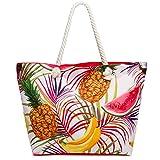 CASPAR TS1055 große Damen XXL Strandtasche/Shopper mit bunten Hawaii Motiven, Farbe:rot/Südfrüchte;Größe:One Size