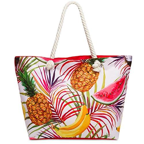 6d831acca3c38 CASPAR TS1055 große Damen XXL Strandtasche Shopper mit bunten Hawaii  Motiven