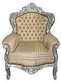 Casa Padrino Barocker Sessel 'King' Mod 2 Gold /Beige Streifen/ Silber- Möbel Antik Stil