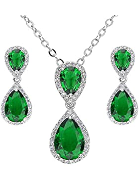 Ever Faith CZ May BirthsTon Tropfen Dangle Halskette Ohrringe Set Silber-Ton Grün N03766-4