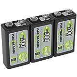 ANSMANN Akku 9V Block 200mAh NiMH 3 Stück mit geringer Selbstentladung - Wiederaufladbare Batterien maxE mit hoher Kapazität - 9 Volt Batterie für Messgerät Multimeter Spielzeug Fernbedienung uvm.