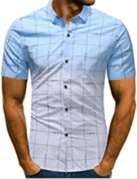 Jaminy Herren Hemd Sommer Herren Mode Persönlichkeit Männer Casual Schlank  Kurzarm Patchwork T-Shirt Top 376753d795