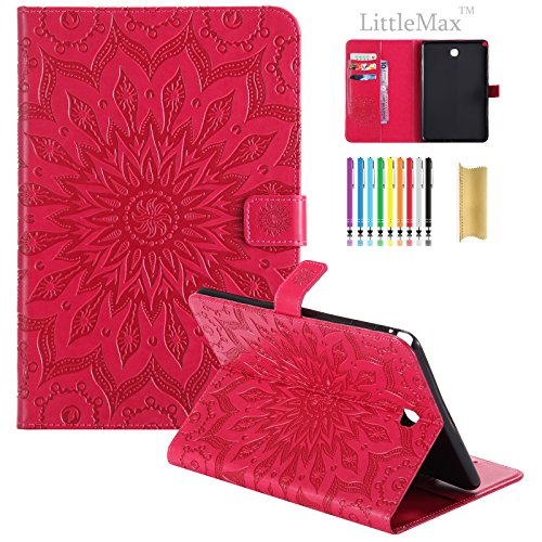 sm-t350Fall, Galaxy Tab A 8.0Fall, littlemax (TM) geprägtes PU Leder Smart Wallet Fall mit [Automatische Sleep/Wake] Cute Cartoon Flip Stand Cover für Samsung Galaxy Tab A 8.0Tablet -, 2 Red - Jungen Red Tab