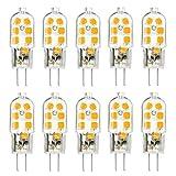 TINS G4 LED Lampe, G4 3W LED Birne, AC/DC 12V, 12 x 2835 SMD, 150LM, 3000K Warm weiß, 360 Licht Winkel, , Kein Flimmern Energiesparende Lampe, Birne Nicht Einstellbarer,G4 LED Birne, 10er Pack