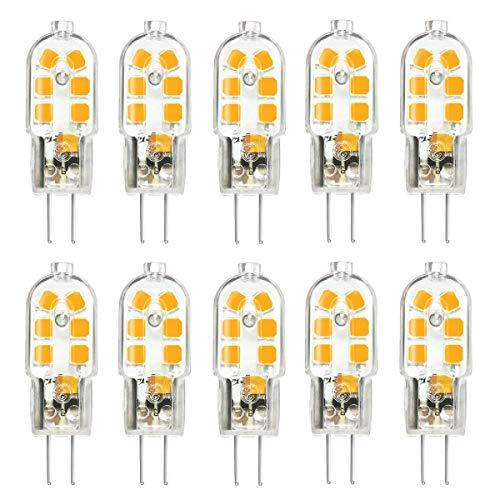 TINS G4 LED Lampe, G4 3W LED Birne, AC/DC 12V, 12 x 2835 SMD, 150LM, 3000K Warm weiß, 360 Licht Winkel, , Kein Flimmern Energiesparende Lampe, Birne Nicht Einstellbarer,G4 LED Birne, 10er Pack -