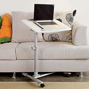 SoBuy FBT07N2-W Table de lit pour ordinateur portable, iPad, lecture avec plateau inclinable à hauteur assistée Tables de chevet / Support PC