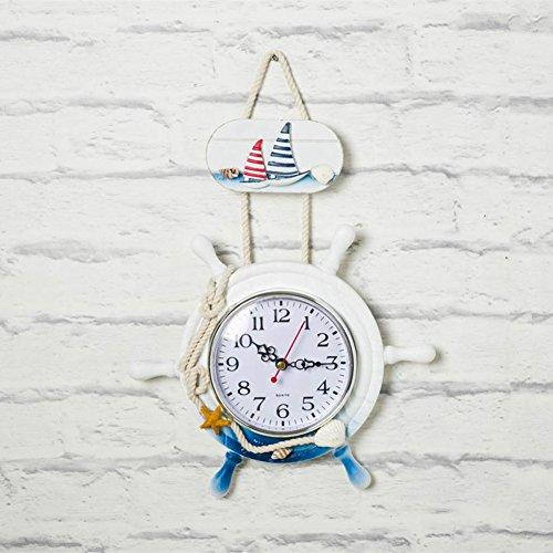 SSBY Mano timoneria timone creativo personalizzato di orologio da parete fatti a mano il vecchio arredamento decorativo appeso a parete orologi,l'altezza 33cm/larghezza 23cm - Ragazze Personalizzato Photo