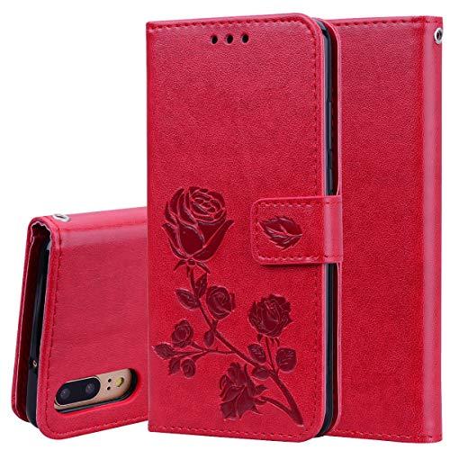 Sycode Hülle für Huawei P20,PU Leder Wallet Tasche Brieftasche im Bookstyle Rose Blume Muster Malerei Kunstleder Tasche Cover für Huawei P20-Rot