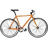 CREATE Original Cr-Mo Stahl Fixie Singlespeed Fahrrad viele Farbvarianten, Farbe:orange;Rahmengrösse:54 cm