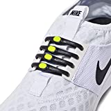 HICKIES 2.0 Performance One-Size Fits All No Tie Elastic Laces - Black and Yellow (14 HICKIES laces, Works In All Shoes)