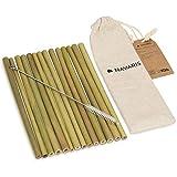 Navaris Paille Bambou - Lot 14x Paille Réutilisable Bambou Biodégradable avec Brosse de Nettoyage et Sac en Lin - Pailles Végétales Écologiques