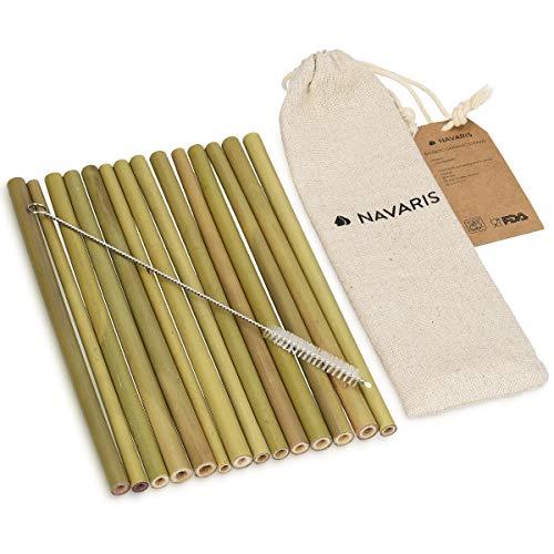 Navaris 14x Bambus Strohhalme Set mit Bürste - Natur Strohhalm wiederverwendbar - biologisch abbaubar - Trinkhalm BPA frei - inkl. Aufbewahrungsbeutel (Kinder Zeichen Trinkbecher)