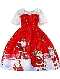 Youngii (1-7 Ans) Père Noël Bonhomme de Neige imprimé Dentelle Robe de Princesse Jupe pour Enfants Fille Toddler Kids Bébé Filles Santa Print Princesse Dress Tenues de Noël Vêtements
