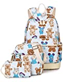 Leaper Korean Lightweight Canvas Laptop Backpack Shoulder Bag Purse Case 3PCS Light Blue