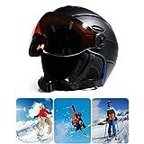 Auplew Casco da Snowboard da Sci Visiera, Maschera da Neve Rimovibile 2 in 1 Maschera Integrata antiappannante Anti-UV Protezione Uomo Donna