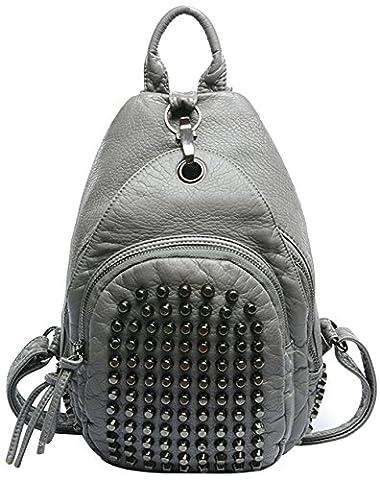 Tina Women's Fashion Studded Rivet Zipper Soft Cover Bag Backpack Grey