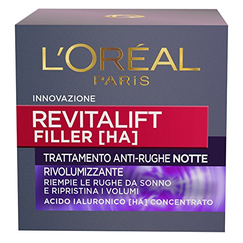 L'Oréal Paris Revitalift Filler Crema Viso Anti-Rughe Rivolumizzante Notte, 50 ml