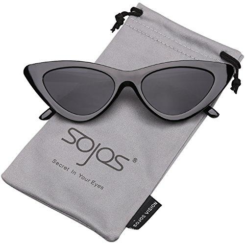 SOJOS Katzenauge Rahmen Mode UV-Schutz Damen Sonnenbrille Cat Eye SJ2044 mit Schwarz Rahmen/Grau Linse