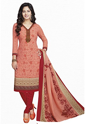 Ishin Synthetic Peach & Red Printed Party Wear Wedding Wear Casual Wear Bollywood New Collection Latest Design Trendy Unstitched Salwar Suit Dress Material (Anarkali/Patiyala) With Dupatta  available at amazon for Rs.499