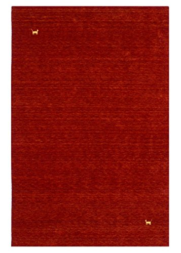 Morgenland Gabbeh Teppich Modern ASTERIA 140 x 70 cm Rot Brücke Handgearbeitet Wollteppich Modern Einfarbig Uni Tiermotive -