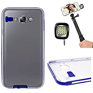 DMG LED Flashing Call Notification TPU Back Cover Case for Samsung Galaxy E7 (Blue) + 3.5mm Continuous LED Spotlight Flash