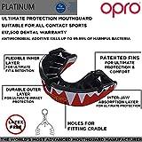 OPRO Mundschutz Platinum - Damen/Herren/Kinder Zahnschutz für Handball, Karate, Rugby, Hockey, MMA, Boxen, American Football, Basketball - selbst anformbar - im UK entworfen & hergestellt (Rot / Schwarz / Weiß)