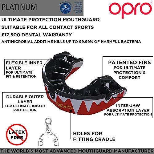 OPRO Platinum Sports - Protector bucal, Color Negro, Blanco y Rojo, para niños de más de 10 años