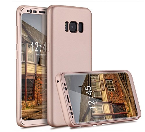 Vanki® Coque Galaxy S8 , Ultra Rigide Léger 360 Case Degres Souple 2-en-1 [PC+TPU] Récurer Protector Shell pour Samsung Galaxy S8 Plus Or Rose