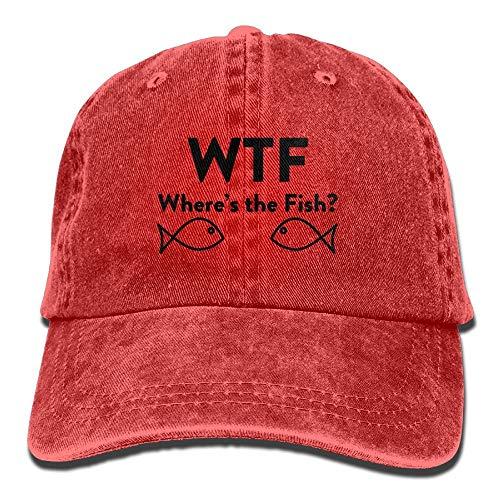 WTF Where's The Fish Adjustable Baseball Caps Denim Hats Cowboy Sport Outdoor -