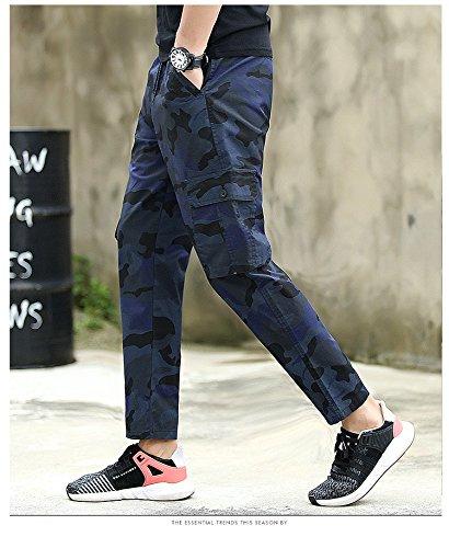WTUS – casual Pantaloni – Di tuta – Sportivi – Motivo mimetico – Tasche – Tuta allentata Da uomo Blu