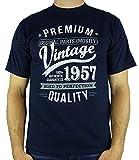 1957 Vintage Year - Aged To Perfection - Regalo di Compleanno Per 60 Anni Maglietta da Uomo Blu Marino M