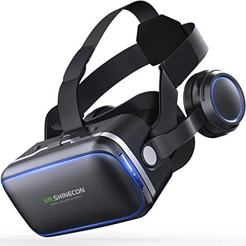 3d-VR-Headset für iPhone und Android Smartphones, mit Stereo-Kopfhörer, Virtual Reality Brille VR Brille für 3d Filme und Spiele kompatibel mit 3.5-6.2Zoll